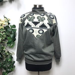 Vintage Western Aztec Gray Mock Neck Sweater - S